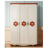 Cheap Mediterranean White Clothes cabinet American country wooden wardrobe for sale