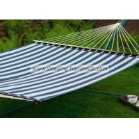 Green White Stripe Outdoor Quilted Fabric Hammock , Large Canvas Free Standing Hammock