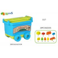 "Cheap 17 ""  Building Blocks Toys For Toddlers Movable Wagon 32 Pcs Blue Pink Big Wheel for sale"