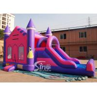Cheap 4in1 pink kids party inflatable princess bounce house with slide from Guangzhou Inflatable factory for sale