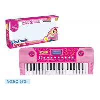 Cheap Pink Children's Electronic Piano Keyboard With Microphone Battery Operated for sale
