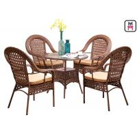 Cheap 4 Seater Outdoor Restaurant Tables With Rattan Metal Frame D80* H72 Cm for sale
