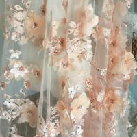 Cheap Luxury 3D Floral Beaded Bridal Lace Fabric , Scalloped Edge Wedding Gown Lace Fabric for sale