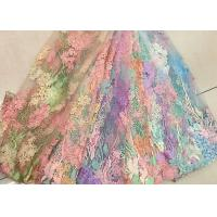 Cheap 3D Beaded Lace Fabric , Scalloped Multi Color Floral Embroidered Fabric For Skirt for sale