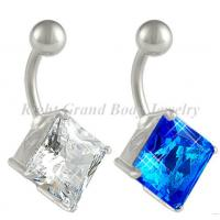 Cheap 10mm Square Belly Piercing Rings Body Jewelry Crystal Blue For Party for sale