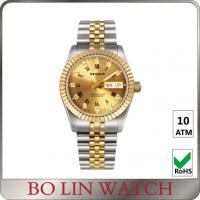 China 18K Full Gold Luminous Hands Watch , Ladies Gold Bracelet Watches With Date Window on sale