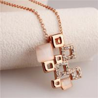 Cheap 2015 Hot Sale Women's Rose Gold Clear Crystal & Simulated White Opal Diamond Geometric Pendant Necklace for sale