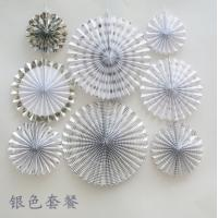 Cheap Custom silver folding fan festival festive supplies paper fan Birthday party wedding decorations home decor 6pcs/set for sale