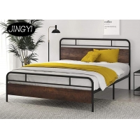 Cheap ODM Industrial Pipe Bed Bedroom Furniture Farmhouse MDF Platform Bed for sale