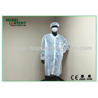 Quality OEM Breathable Disposable Lab Coats with Hook / Loop Closure wholesale