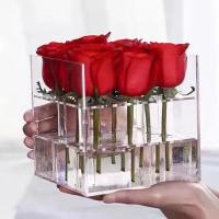 Cheap Wholesale Price Preserved Rose 9 Holes Acrylic Display Box With Lid for sale