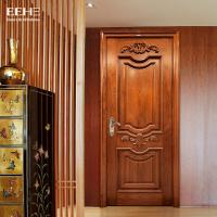China Safety Residential Solid Hardwood Internal Doors With Handmade Carved Flowers on sale