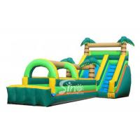Cheap Tropical Palm Tree Inflatable Water Slide With Long Slip n Slide For Beach Parties for sale