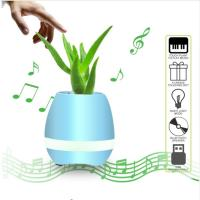 Cheap Flowerpot Night Lamp Small Wireless Speakers Smart Piano Touch Music Singing Plant Pot for sale