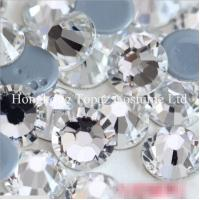 Cheap Wholesale High quality Hotfix Rhinestone Crystal Clear Round Iron on Flat back stone for sale