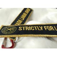 Cheap 2.5cm 3D Gold Embroidery Logo Keychains for sale