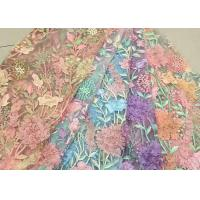Cheap Bead Embroidered Lace Fabric, Scalloped Multi Color 3D Flower Lace Fabric For Dress for sale