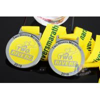 Cheap Two Rivers Marathon Custom Sports Medals Raised Metal And Filling Color In Recessed Metal for sale