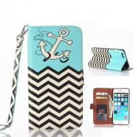 Cheap Ebay Hot Sell Anchor & Wave Pattern Flip Leather Case W/Stand For Iphone 6 Plus for sale