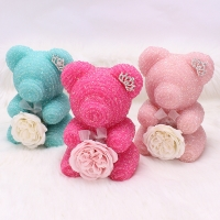 Cheap New Style 25cm Roses Bear Diamond Bear Decorated With Crown Include Gift Boxes for sale