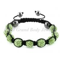 Cheap Crystal Beads Shamballa Bracelet With Peridot CZ Stone For Female for sale