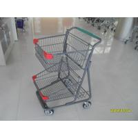 Cheap Two Deck Basket  Shopping Trolley Cart With Grey Powder Coating Surface Treatment for sale