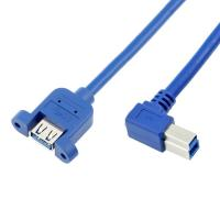 Right Angled USB 3.0 B Male to A Female Panel Mount Cables with PVC Jacket Manufactures