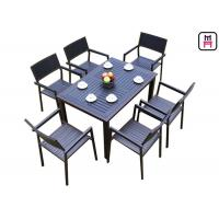 Cheap 1 By 4 / 6 Outdoor Restaurant Tables Sets Plastic Wood Metal Frame Patio Dining Furniture  for sale