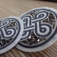 Cheap Imitation Diamond Custom Embroidered Patches With Fashion Design for sale