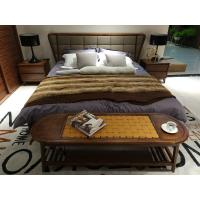Cheap 2017 New design of  Fabric Upholstered headboard Bed by Walnut wood frame for Fashion Apartment  bedroom furniture use for sale