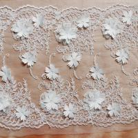 Cheap Beautiful White 3D Flower Lace Fabric , Double Edge Alencon Beaded Lace Fabric for sale