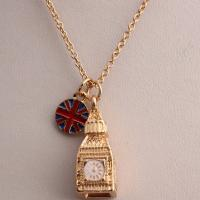 Alloy Plating and Drip Glaze Yellow Clock Tower Pendant Necklace Factory Direcct