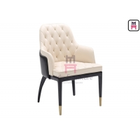 Cheap Modern Wood Restaurant Chairs With Dual - Colors Leather Upholstered Button Decoration for sale