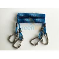Cheap Retractable Tool Tether Lanyards Blue Spring Elastic Plastic Coiled Tethers for sale