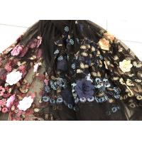 Cheap Flower Embroidered Sequin Lace Fabric , Multi Colored 3D Flower Mesh Lace Fabrics for sale