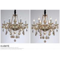 Modern Candle Chandelier Wrought Cognac LED Crystal Chandelier Lighting Fixture Switch Control ...