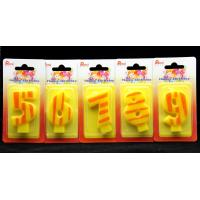 Cheap Number Birthday Candles 0-9 Yellow Candle  with Orange color Stripe Painting for sale
