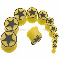 Cheap Yellow Silicon Hand Made Thread Double Flare Ear Tapers, Piercing Jewelry With Black Star for sale