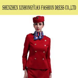 35c58e7335a Red Cabin Crew Airline Stewardess Uniforms Air Hostess Costume ...