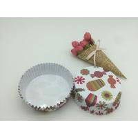 Cheap Round Shape Paper Baking Cups PET Coated Film Candy / Flower Pattern Cupcake Liners for sale