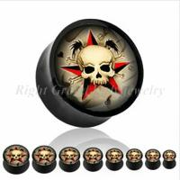Cheap Skull Cool Customized 14mm, 16mm, 18mm Non - Toxic Ear Expander Plugs For Anniversary for sale