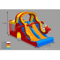 Cheap Customized Kids Inflatable Water Slides Dino Type Double Slide For Park Center for sale