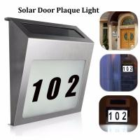 Cheap Solar Door Plaque Light 3 LED Outdoor Illuminated House Signs Address Number Light with Stainless Steel Wall Doorplate for sale