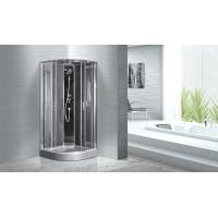 Cheap Quadrant Shower Cubicles 900 X 900 X 2100 MM Circle Grey ABS Tray Chrome Profiles for sale