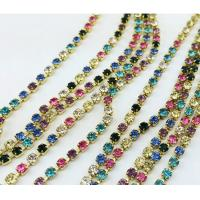 Cheap brass rhinestone cup chain trimming mixed color stones for sale