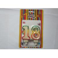 Glitz White Number Birthday Candles Party Paraffin Candle With Colorful Border Manufactures