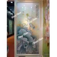 Cheap Engraved Glass Partition Wall - Lotus Painting for sale