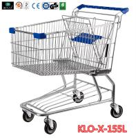 Cheap 155L Hyper Market / Grocery Shopping Trolley With Transparent Powder Coating for sale