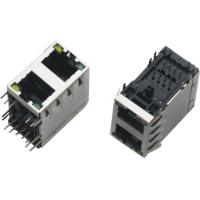 Cheap 2x1 Dual Port RJ45 Connector , RJ45 Through Connector AC 1500Vrms 50Hz Withstand Voltage for sale