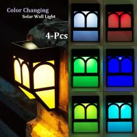 Cheap Color Changing Solar Fence Lights Multi-Color Solar Wall Lights for Garden Decor for sale